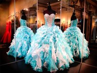 Wholesale White Bolero Shirt - Turquoise White Organza Quinceanera Dresses 2015 Sweetheart Lace up Princess Ball Gown Crystal Beads Ruffles Bolero Jacket Sweet 16 Dress