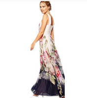 ingrosso maxi sundress floreali-All'ingrosso-2016 donne Maxi vestito in chiffon senza maniche Boho Summer Long Floral Party Dress Sundress Plus Size