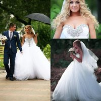 Wholesale Size Hoop Skirt - Vintage 2015 White Plus Size Wedding Dresses Rhinestone Gothic Ball Gown Beads Sequins Sweetheart Bridal Gowns Court Train Hoop Skirt