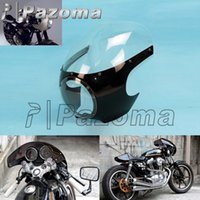 """Wholesale Custom Fairings For Motorcycles - Pazoma 5 3 4"""" Bright Black + Clear Motorcycle Front Headlight Fairing&Windshield Universal For For Custom Sportster Dyna Cafe Racer"""