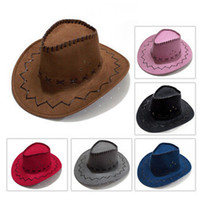 Wholesale western cowboy tie - American Western Cowboy hat and cap Free shipping Hollywood Style Party Costume for travel leather cowboy hat straw cowboy hat