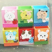 Gros-Livraison gratuite! 20PCS / LOT, Cartoon Belle bois RabbitCat Pencil Case Animal / Bois Pen Holder Box / Pen