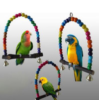 Wholesale Wooden Swings - 15cm Colorful Parrot Swing Bird Cage Toys Cockatiel Budgie Lovebird Wooden Toy Wooden Bird Parrot Swing Toy CCA8220 50pcs