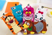 Wholesale Galaxy 4s Case Cover Cute - 3D Cute Cartoon Monster Tiger Marie Alice cat Silicone Rubber Back Case Cover For iphone 6 6 Plus 5S 4S Samsung galaxy S3 S4 S5 case