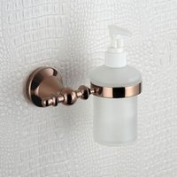 Rose Golden Shower Soap Dispenser e titular com garrafa de vidro geado, parede montado Luruxy Bathroom Accessroise com cobre