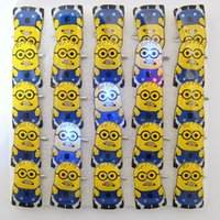 Wholesale Pin Up Kids Wholesale - 25pcs lot 2015 New Fashion Kids Pins light up toys Led Yellow Minions Brooches With Battery,Night Party Decoration