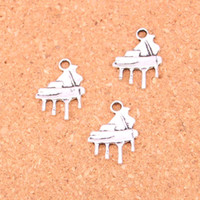 Wholesale Piano Grand - 182pcs Antique silver Charms grand piano Pendant Fit Bracelets Necklace DIY Metal Jewelry Making 21*16mm