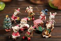 Wholesale Miniature Christmas Toys Wholesale - 2018 Christmas Figure Toys Snowman Deer Sant Claus Christmas Tree Miniature figurine Decoration Garden Resin craft toy ornaments Gift