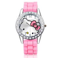 Wholesale Silicon Brand Wrist Watches - Hot Brand Hello Kitty Cartoon Watch KT Diamond Watches Silicon Jelly Children Wrist Watch Women Quartz Kids Watch reloj mujer H102 LCC3