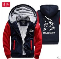 Wholesale Ice Man Costume - Game Of Thrones Wolf House Stark A Song of Ice and Fire Hoodie Fleece Thick Warm Sweatshirt Cosplay Costume Coat