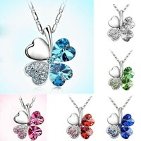 Wholesale planting red clover - Fashion Four Leaf Clover Necklace Crystal Clover Leaf pendants fashion jewelry for women lovers Christmas gift Drop Shipping