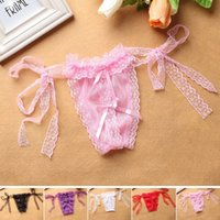 Wholesale T Back Underwear For Women - Wholesale Women Sexy Open Crotch Panties Plus Size Underwear Lingerie Lace G String T-Back Thongs For Girls One Size XF0018 Salebags