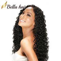 brasilianische halbe perücken großhandel-100% brasilianisches Haar volle Spitze Perücke tiefe Welle wellig natürliche schwarze Farbe Top Qualität brasilianische Remy Haar Perücken Bella Haare