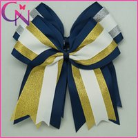 "Wholesale Ribbon Layered Hair Bow - 20Pcs lot 8"" Large Three Layered Girls Cheer Bow Glitter Ribbon Cheerleading Bows For Kids Handmade Elastic Band Hair Accessories"