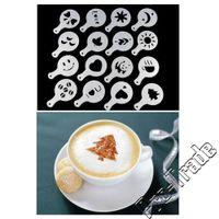 Wholesale Stencil Cakes - DIY Coffee Stencil Cappuccino Stenciling Latte Art Stencils Fancy Coffee Tools 16 pcs set Cake duster templates 00820