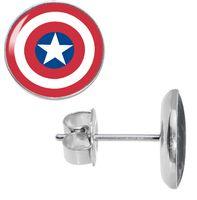 Wholesale Cross Ear Plugs - Wholesale Studs Earring 50pcs lot Surgical Steel Captain America Fashion Jewelry Ear Stud Earrings Cheater Plugs Diameter 10mm*1.2m ZCST-001