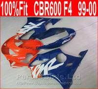 99 honda cbr f4 fairings toptan satış-Honda özel grenaj CBR 600 F4 1999 2000 kaporta kiti CBR600 F4 99 00 CSYP için% 100 Fit mavi kırmızı Vücut parçaları