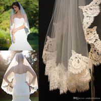 Wholesale White One Shoulder Free - Free shipping 2018 Short Alencon Lace edge Veil fingertip re-embroidered veils ivory Floral alencon wedding bridal accessories