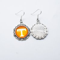 dd66d5ccd 10Pairs Charm Sports Team NCAA Tennessee Volunteers 18mm Glass Stud Earrings  Pendant Earrings For Women Jewelry Gift
