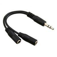 Wholesales Promotion 1 to 2 3.5mm Earphone Headphone Splitter Cable Audio Adapter Jack 20cm 100pcs lot
