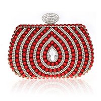 Wholesale Black Beaded Purse - 2016 Pearl Clutch Bags Fashion Women Wedding Purse Beaded New Black Red Silver Gold Ladies Party Bags