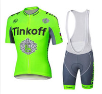 Wholesale Tour France Cycling Tops - 2016 Tour De France Cycling Jerseys Tinkoff Saxo Bank Bike Wear Short sleeves tops+ white BIb Shorts Size XS-4XL fluo