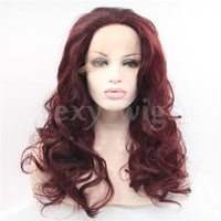 Wholesale Auburn Hair Pictures - Fast Shiping Body Wave Anburn Color Heat Resistant Wig Synthetic Lace Front Wig #Color & Style# As the Picture Show In Stock