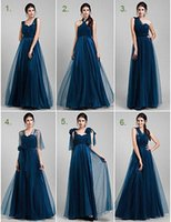 Wholesale Girl S Dresses Flower Fall - Bridesmaids Dresses 2015 Tulle Navy Blue A-line Long Floor Length Maid Of Honor Dress Custom Made Gowns For Girls Wedding Party Hot Sale