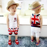 Wholesale british boys - New Boys Casual Suit children's Sleeveless T-shirt +Short trousers baby boys British flag clothing set girl Kids sets
