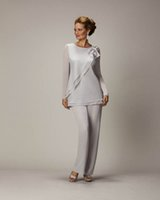 2019 New Groom Mother of the Bride Dresses Wedding Guest Formal Evening Gown With Long Sleeve Crew Mother's Suit Gray Chiffon Bow Zipper