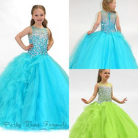 Wholesale Discounted Girls Ball Gown - Best selling ball gown sweep train organza beads crystal pageant girls dresses charming discount flower girl dresses newest party prom dress