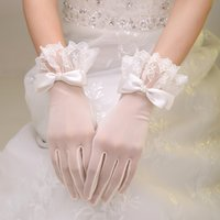 Wholesale White Off Wedding Gloves - High quality Off White Lace Glove For Wedding 5 Fingers Gloves With Bow Wedding Bridal Supplies Ivory Accessories