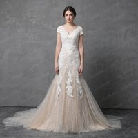 Wholesale Colorful Tulle Dresses - Short Sleeve V Neckline Mermaid Wedding Dress Champagne with Floral Lace Illusion Back 2018 Real Photo