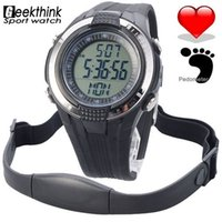 Wholesale Digital Monitor Calories - New Chest Strap Heart Rate Monitor Calories Pedometer Digital pulse Mutifunction Sports Watches Exercise BMI Memory Mode Outdoor