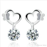 ohrring modelle koreanisch großhandel-Explosion Modelle Silber Schmetterling Ohrringe weiblichen Ohrringe weiblichen koreanischen Mode Schmuck süße Ohrringe Diamant Ohr