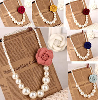 Wholesale Pearl Necklace Brooch - 2015 Kids girls Pearls Necklace +3D flower brooch Baby girl princess jewelry babies fashion accessories