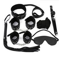Wholesale Couples Restraint - Adult Game 7Pieces kit Leather Fetish Sex Bondage Restraint Handcuff Gag Queen Constume Nipple Clamps Whip Sex Toy For Couples