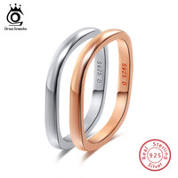 Wholesale Male Sterling Silver Wedding Ring - ORSA JEWELS Real 925 Silver Women Men Rings Sterling Silver Color Rose Gold Color 3 Styles Male Wedding Band Female Jewelry SR49