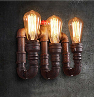 Wholesale design vintage bulbs - New design Nordic Industrial Pump Pipe Wall Sconce Triple Heads Edison E27 Bulbs American Country RH Wall Light Iron Art Decors Lustre