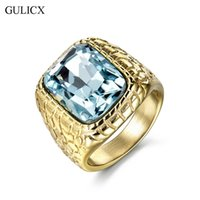 Wholesale channel set princess cut - Wholesale- GULICX Fashion Gold-color Stainless Steel Punk Large Ring for Men Blue Princess Cut CZ Crystal Party Jewelry BR158