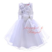 Wholesale Christmas Mesh Stocking - Pettigirl In Stock Girls Princess Dress With Bow Sash White Mesh Kids Sequins Dresses Wholesale Baby Clothing DMGD90226-3