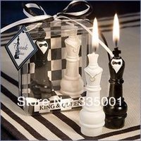 Wholesale Chess Wedding Favors - wedding favor King and Queen Chess Piece Candle Favors 052828