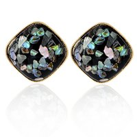 Black Square Crystal CZ Stud Earring Gift para mujeres Girl Mother Abuela 18ct Gold Plated