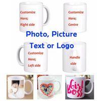 Wholesale Pictures Ceramic - DIY Photo Coffee Mug Printing Custom Picture 11OZ White Ceramic Travel Coffee Mugs Personalized Text Funny Mugs Gift Mug