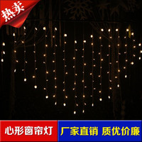 Wholesale Icicle Shaped Lights - LED lights flashing string lights wedding supplies windows and store decorations Heart-shaped icicle lights curtain lights