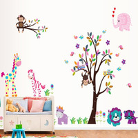 autocollants muraux en éléphant achat en gros de-Singe sur Girafe Elephant Birds Tree Branch Colorful Art peint Decal Decor Singe Owls Papillon naturel Vue sur la forêt Paradise Wall Art