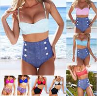 Wholesale Neon Padded Bikinis - Womens Vintage High Waisted bandeau Bikini Neon Color Swimwear Swimsuit Retro Push-up Pin Up Padded High Waisted Bikini Swimsuit Beachwear