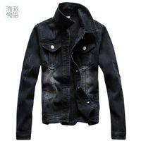 Wholesale Big Breast Size - Shanghai Story vintage Jacket Autumn Men Full Sleeve Denim Black Wash Jean Jacket Maxi Size S-4XL Car-styling Men's denim jacket big size