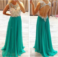 Wholesale Discount Ladies Chiffon Dresses - Sexy Hunter Green Blue Prom Dresses A Line Crystal Beaded Chiffon Tulle Discount Plus Size Formal Dress Lady Prom Gowns Spring Style