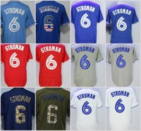 Wholesale Red Stop Button - Cheap 6 Marcus Stroman Jersey Toronto Blue Baseball Vintage Flexbase Cool Base 2016 With 40th Patch Stitched Button White Grey Blue Red
